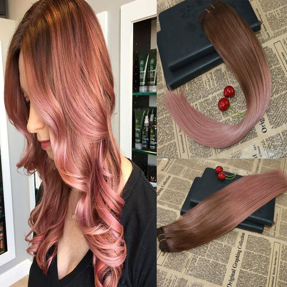 16 Omber European Human Hair Extensions Balayage Rose Gold Highlights Remy Hair Weave 100