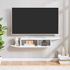 Sunon Floating TV Stand Wall Mounted Entertainment Center Media Console (White)