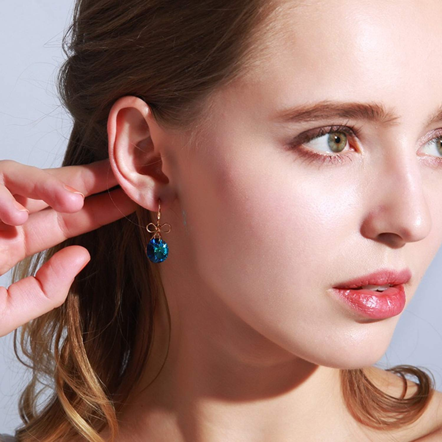 Fashion Round Crystal Drop Dangle Earring with Butterfly Knot Daily Wear for Girls Women Birthday Gifts Boxes Earrings