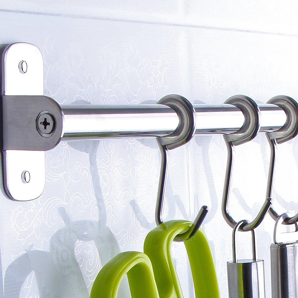 Angelbubbles Kitchen Utensil Rack 304 Stainless Steel GIFT 10pcs S-Shaped Hanging Hooks (50CM)