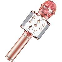 Microphone Kit,Wireless Karaoke Microphone,4-in-1Dancing LED Lights Portable Handheld Karaoke Mic Speaker Machine…