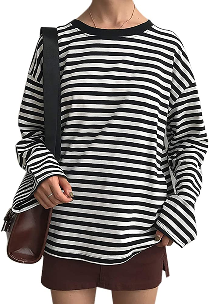 Women Girls Casual Oversized Striped T Shirt Long Sleeves Pullover Sweatshirt Tops At Amazon Women S Clothing Store