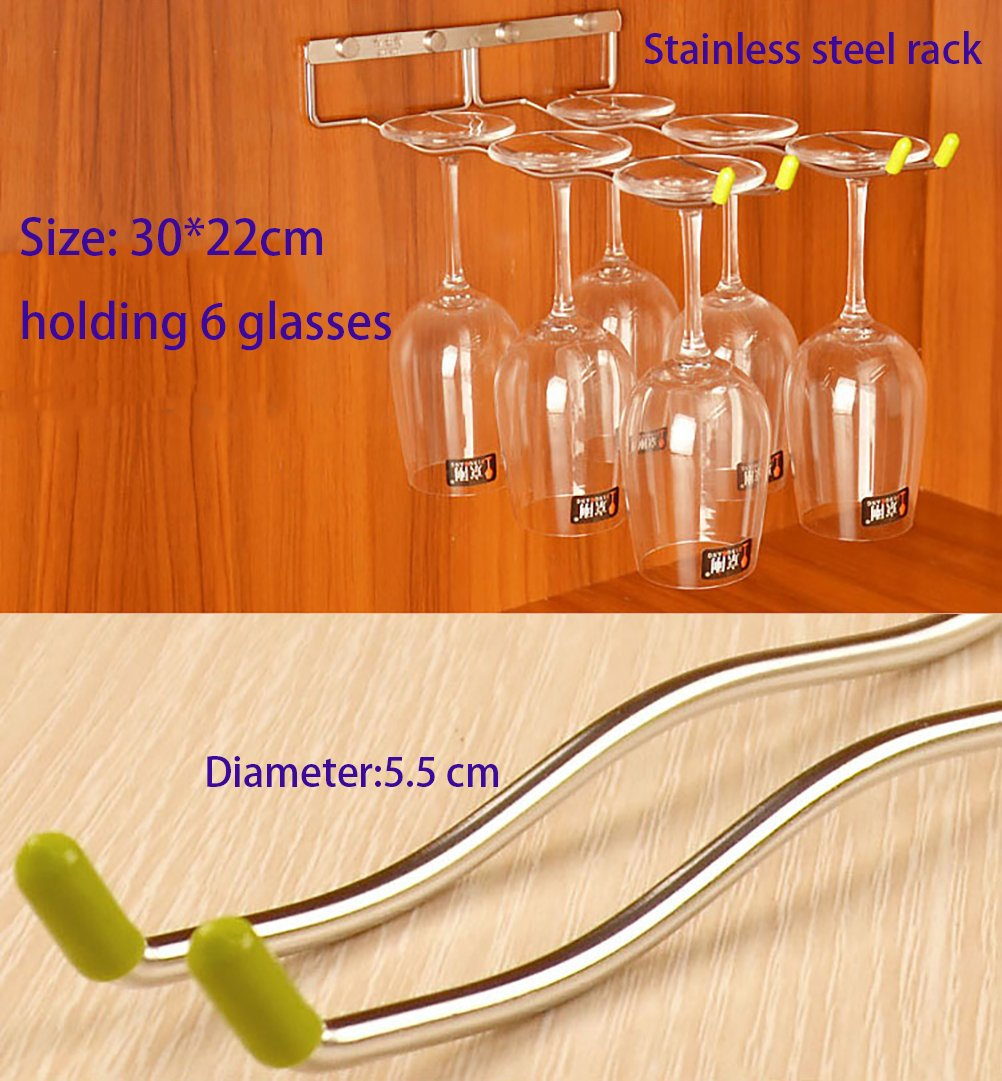 LINEX Hanging Wine Glass Rack 2 Rows Wave Stemware Holder Stainless Steel Wall-Mounted Wine Glass Rack For Home,Bar ,Club , (2 Row, Natural)