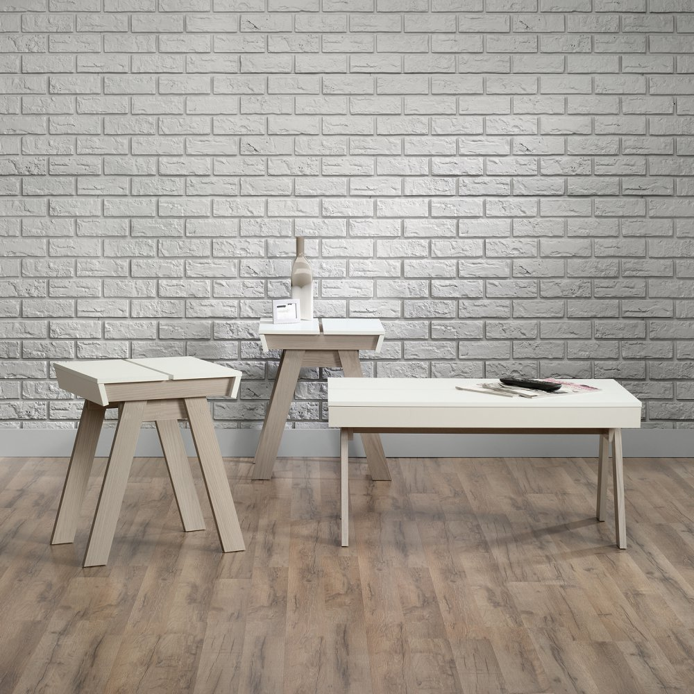 Amazon.com: Sauder Square1 3 Piece Coffee Table Set   / White: Kitchen U0026  Dining