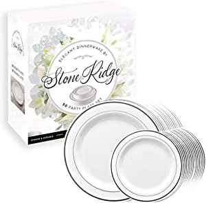 50 Classy Disposable Plastic Plates, 25 Pieces of 10.25 Inch and 25 Pieces of 7.5 Inch White Plates, Silver Trim