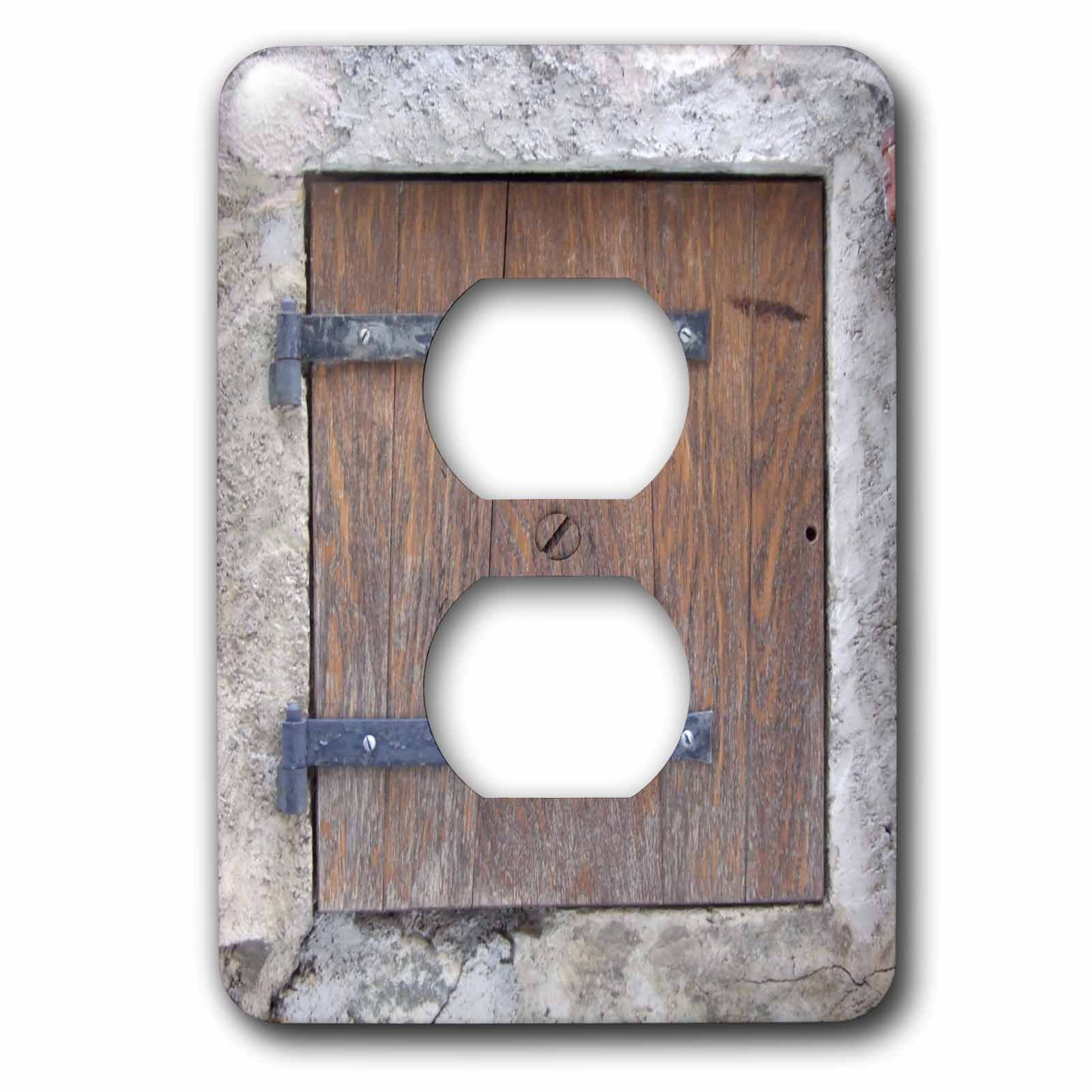 3dRose lsp_157619_6  Wooden Medieval Style Trap Door Photo Print Offbeat Humor Unusual Bizarre Humorous Fun Funny 2 Plug Outlet Cover