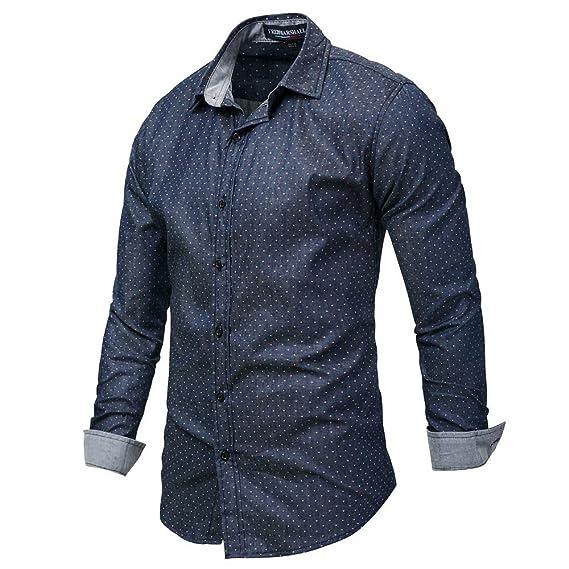 Kinlene Hombre Blusa OtoñO Moda 2018 Rayas De Mezclilla Manga Larga Camisa Hombres Tops: Amazon.es: Ropa y accesorios