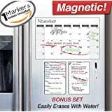 """Magnetic Dry Erase Refrigerator Calendar - 17"""" x 11"""" - 2017 Monthly Weekly Reusable Fridge Meal Planner - Custom Home Fridge Magnet White Board Chore Chart - Grocery & To Do List Organizer w/ Marker"""