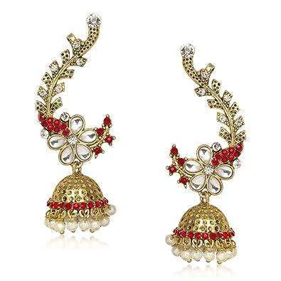 995aab656 MEENAZ Ear Cuffs Traditional Earrings for Fancy Kundan Moti Pearl Earrings  for Womens and Girls T373: Meenaz: Amazon.in: Jewellery