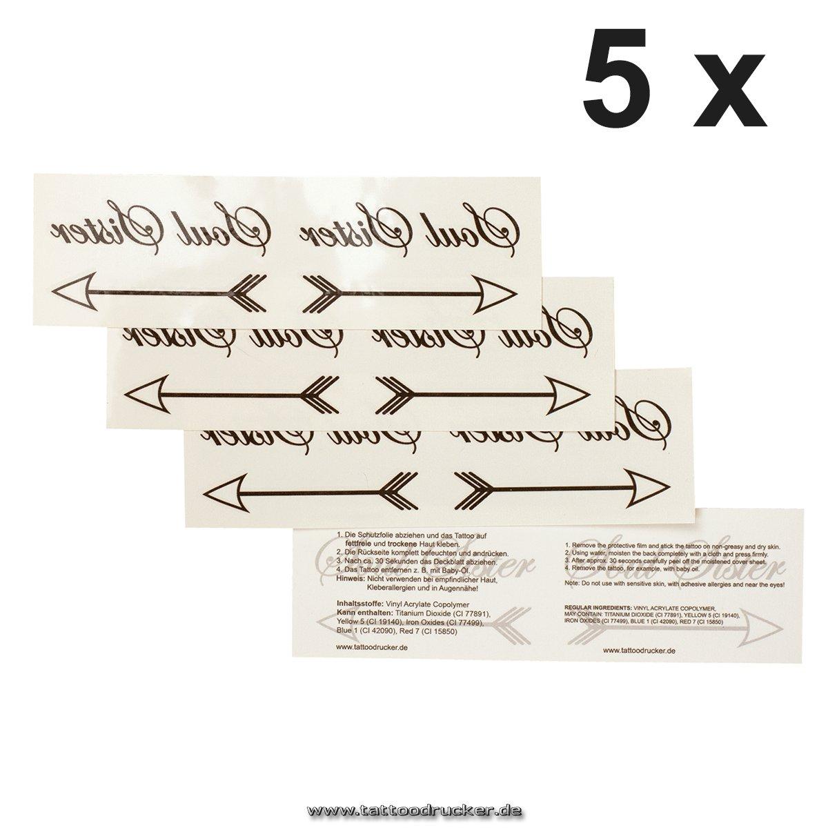 Soul Sister doble Tattoo con flecha en negro – Tempo rary piel ...