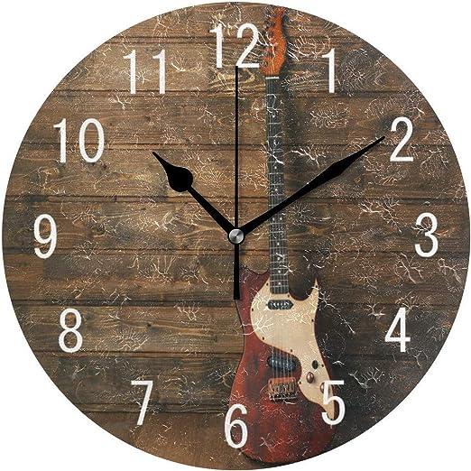 Pam9877ga Guitarra Eléctrica en Madera Música Redonda Reloj de ...