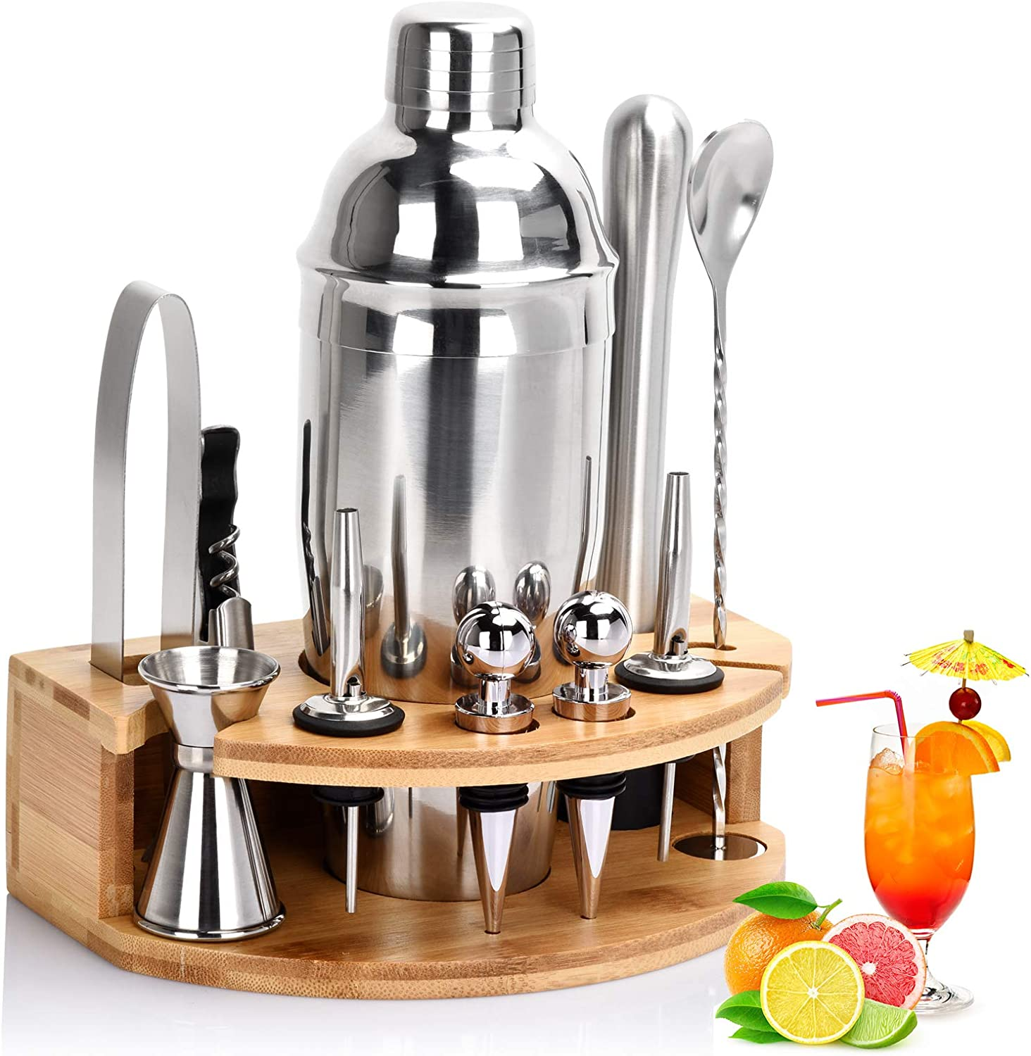 Cocktail Shaker Set, 12 Piece Bartender Kit with Stand, 25 oz Martini Shaker, Stainless Steel Bar Tools, Cocktail Strainer, Double Measuring Jigger, Mixing Spoon (12 PIECE)