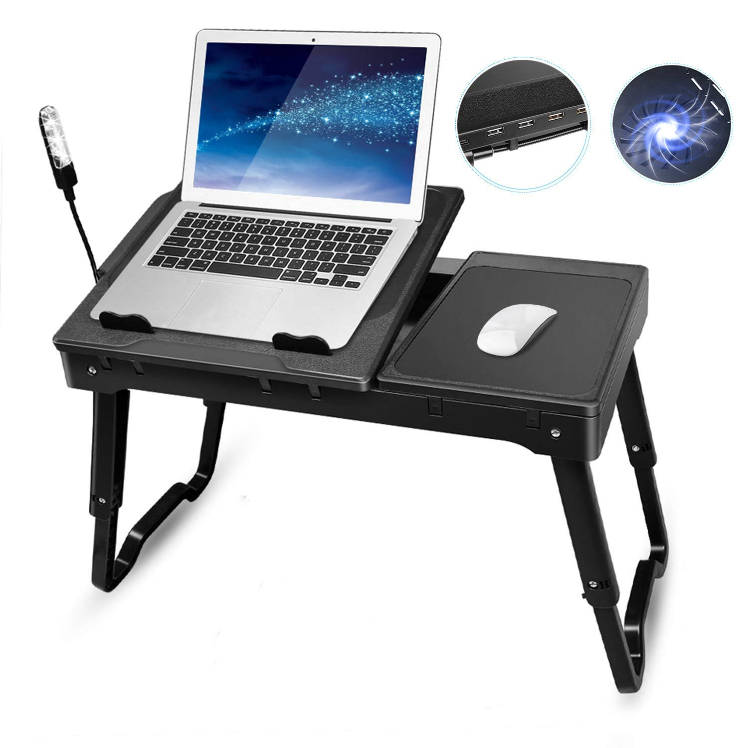 Laptop Bed Tray Table, TeqHome Adjustable Laptop Bed Stand, Portable Standing Table with Foldable Legs, Lap Tablet Laptop Table for Bed Sofa Couch Desk-Internal Cooling Fan-LED Desk Lamp-4 Port USB