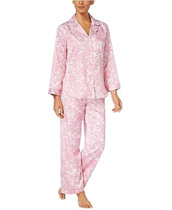Miss Elaine Womens Brushed Back Satin Pajama Set Large Pink