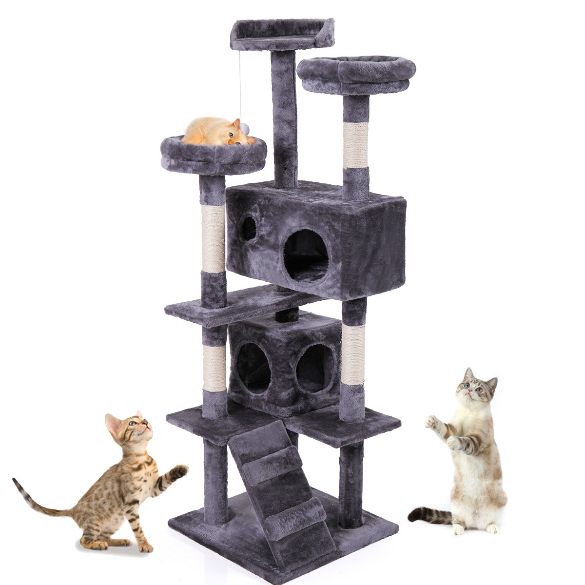 JAXPETY 60'' Cat Tree Condo Furniture Scratching Post Kitten Pet Play Toy House Bed Gray