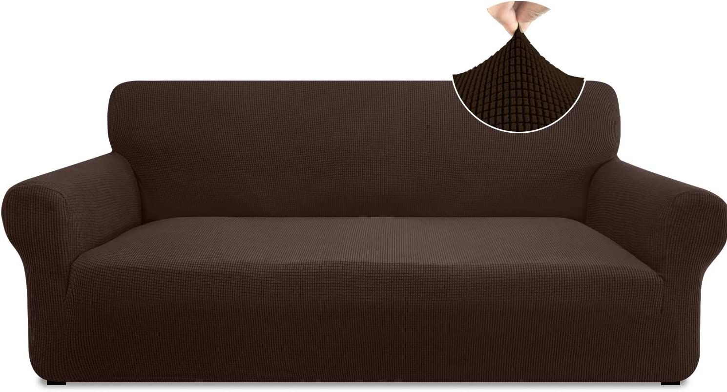 Pitpet Super Stretch Sofa Slipcover 1 Piece Stylish Couch Cover for 3 Cushion Couch Non Slip Sofa Cover Furniture Protector with Elastic Band (Large, Chocolate)