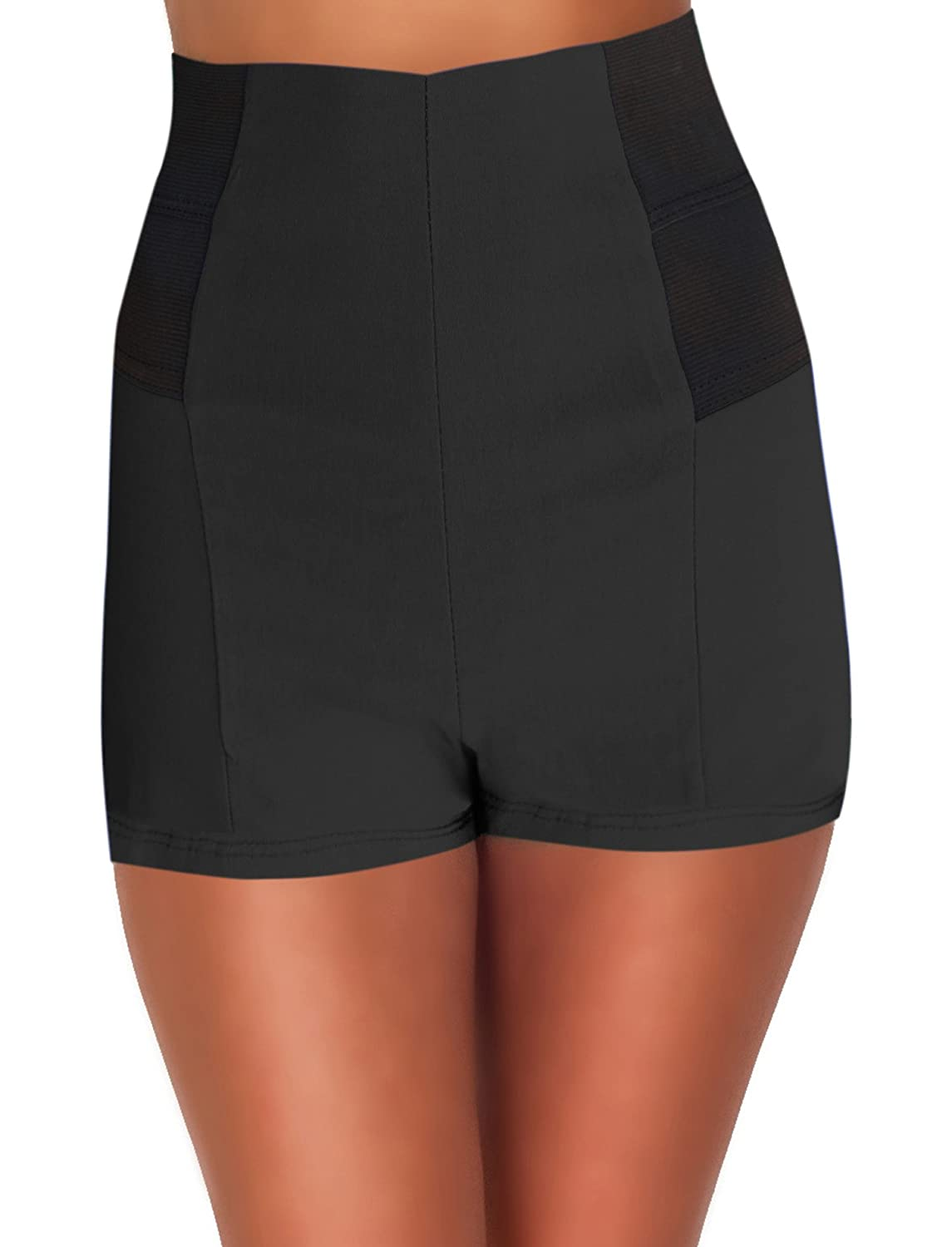 High Waisted Sophisticated Trendy Chic Front Button Vintage Inspired Shorts Hot From Hollywood 5724-SHRTS-R3
