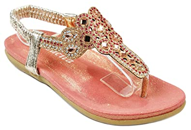 a15a94c7822d8 Girls Kids 3-25J Fuchsia Bling Glitter Rhinestone T-Strap Cushioned  Slingback Thong Sandals