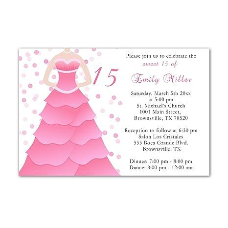 Amazon 30 Invitations Pink Dress Polka Dots Design Birthday