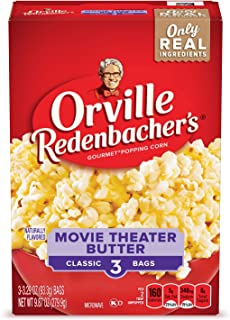 product image for Orville Redenbacher's Movie Theater Butter Microwave Popcorn, (3 Count per bag of 3.29 Ounce each), 9.87 Ounce, Pack of 12