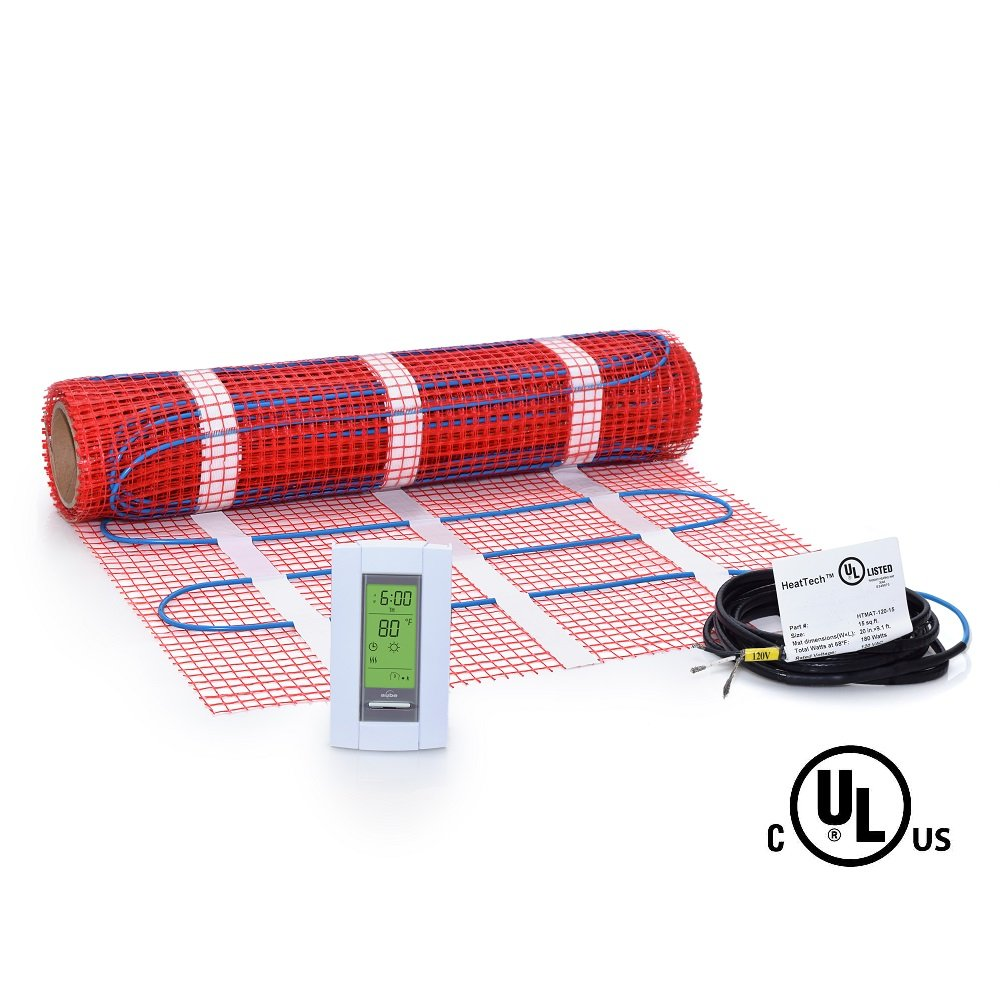 15 sqft Mat Kit, 120V Electric Radiant Floor Heat Heating System w/ Aube Programmable Floor Sensing Thermostat