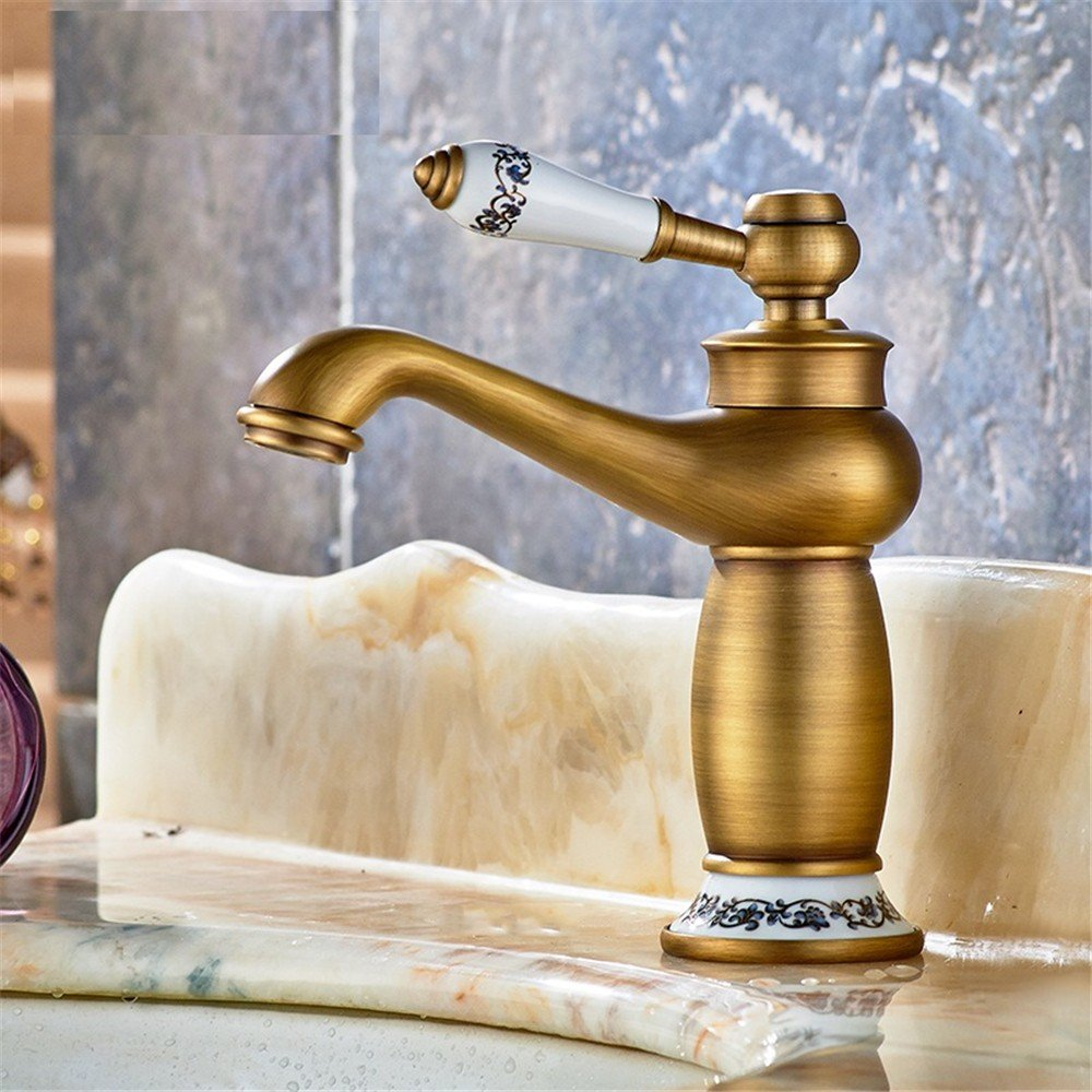 F Bathroom Faucet Washbasin Faucet Bathroom Faucet Kitchen Faucet gold bluee and White Porcelain Faucet All Bronze Vintage,F