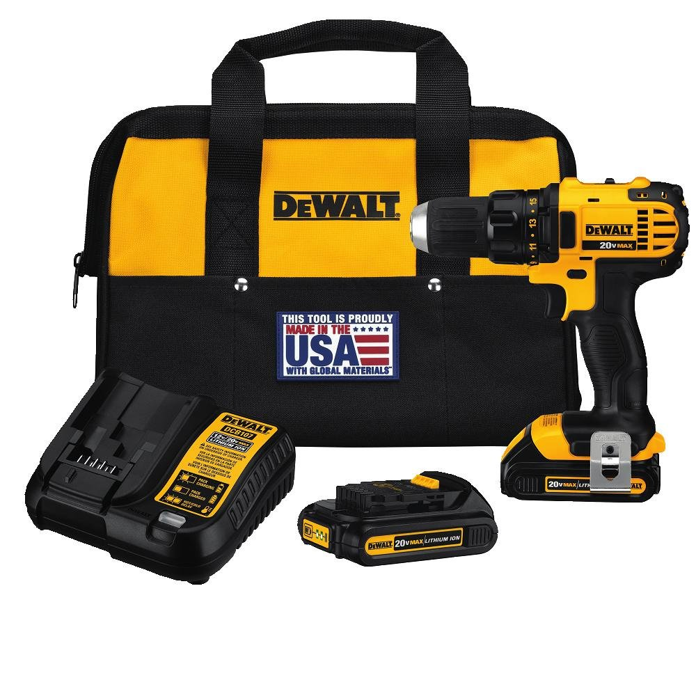 DEWALT 20V MAX Cordless Drill Driver Kit, Compact, 1 2-Inch DCD780C2