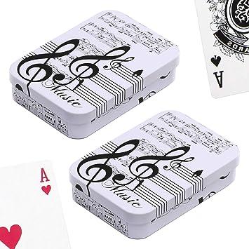 PracticDomus Set de 2 Barajas de Cartas de Poker en Estuche ...