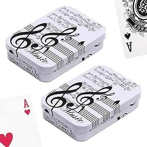 PracticDomus Set de 2 Barajas de Cartas de Póker en Estuche Metálico, Diseño de Giordano di Ponzano. Colección Musica: Amazon.es: Juguetes y juegos