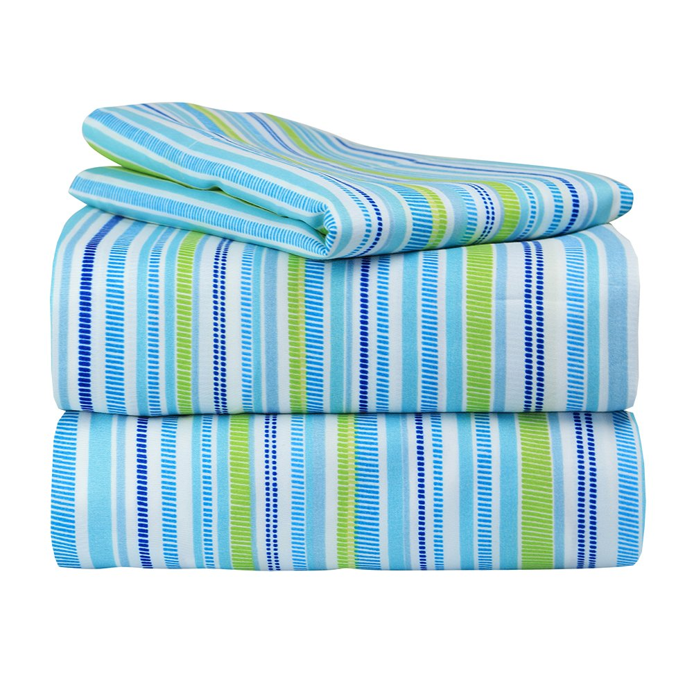 Dor Extreme Super Soft Luxury Blue and Green Striped Bed Sheet Set in 8 Different Prints, Twin, Stripes, 3 Piece by Dor Extreme