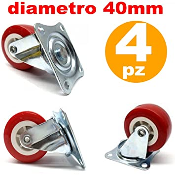 TrAdE shop Traesio 4 Ruedas de Goma Repuesto para Carro Muebles con Placa giratoria Rojo 40 mm: Amazon.es: Hogar