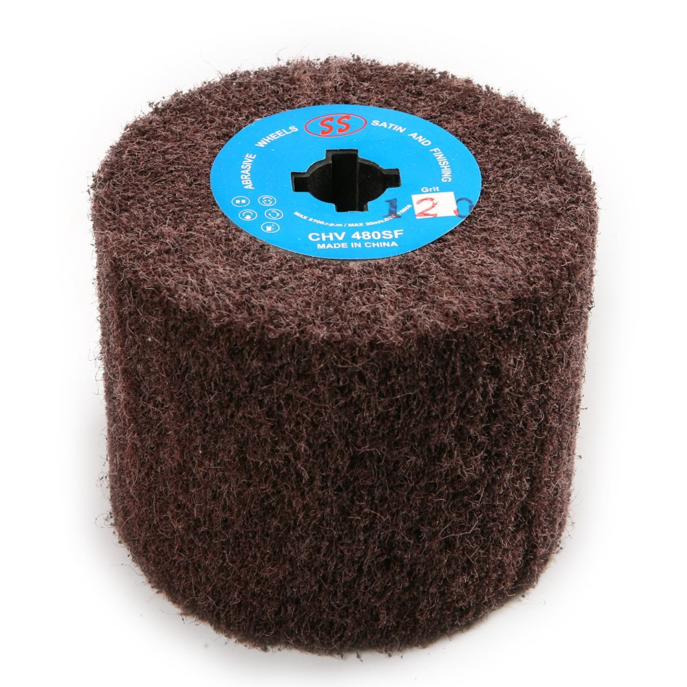 Atoplee 120x100mm 120 Grit Non-woven Abrasive Polishing Flap Wheel for Wire Drawing Metal Iron Aluminum Polishing