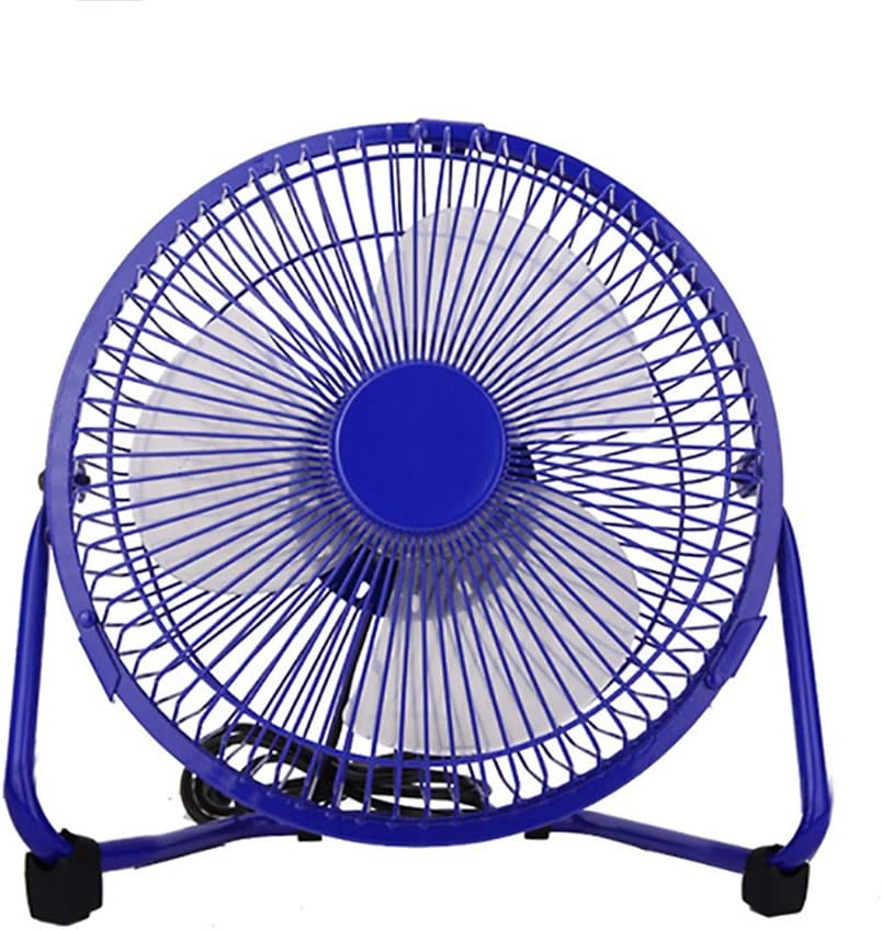 Color : Blue Jajx-comac USB Personal Desk Fan 8 Inch Iron Fan Office Study Desktop Quiet Electric Outdoor Dining Fishing USB Small Fan for Home Office Table