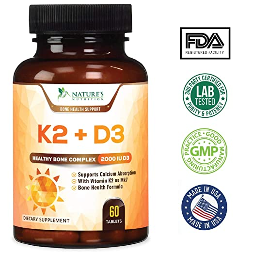 Amazon.com: Vitamin K2 (MK7) with D3 Supplement - Vitamin D & K Complex for Calcium Absorption - Healthy Bone, Heart and Teeth Formula - MK-7, ...