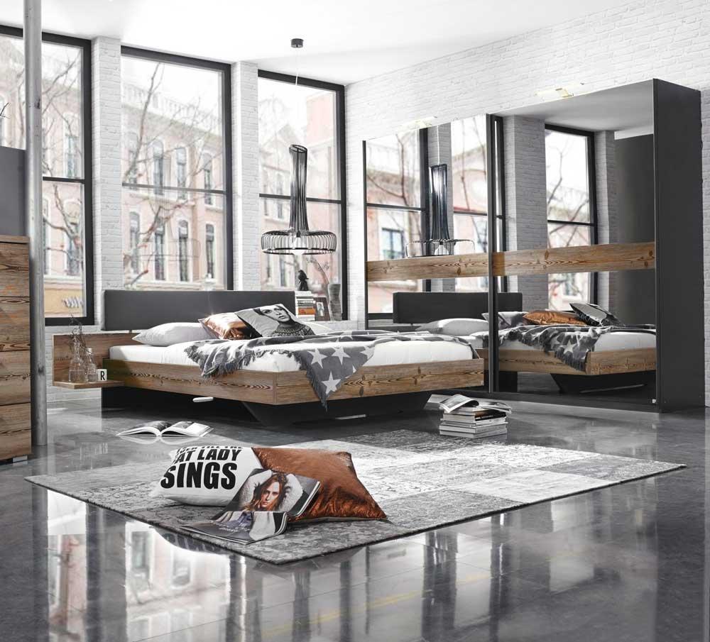 2-tlg. Schlafzimmer in Lärche natur Nb./graphit, Bett mit Ablagen und Polsterkopfteil, B: 267 cm, Schwebetürenschrank mit Grauspiegel-Türen B: 225 cm