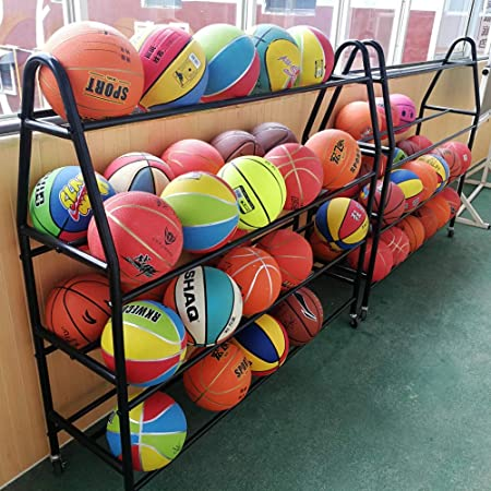 16 Ball Rack for Basketball Volleyball Soccer Gyms Ball Storage Cart