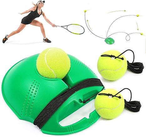 Buluri Tennis Trainer Set Tennisball Für Einzel Tennis Training Übungsbälle Baseboard Rebound Trainingsgerät Für Damen Und Herren Kinder Anfänger Grün Sport Freizeit