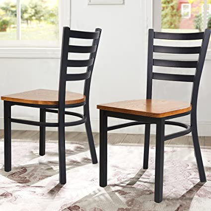 Dporticus Dining Room Chairs Wooden Seat Metal Frame Ladderback Restaurant Chairs Residential Commercial Use Set Of 2 Black