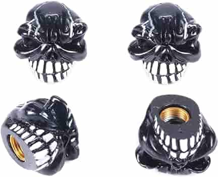 2 Black Billet Aluminum Knurled Tire Valve Caps Skull Bones WB