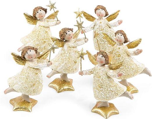 Weihnachtsdekoration Spielzeug mit Stern Niedliche goldfarbene Engelsfigur