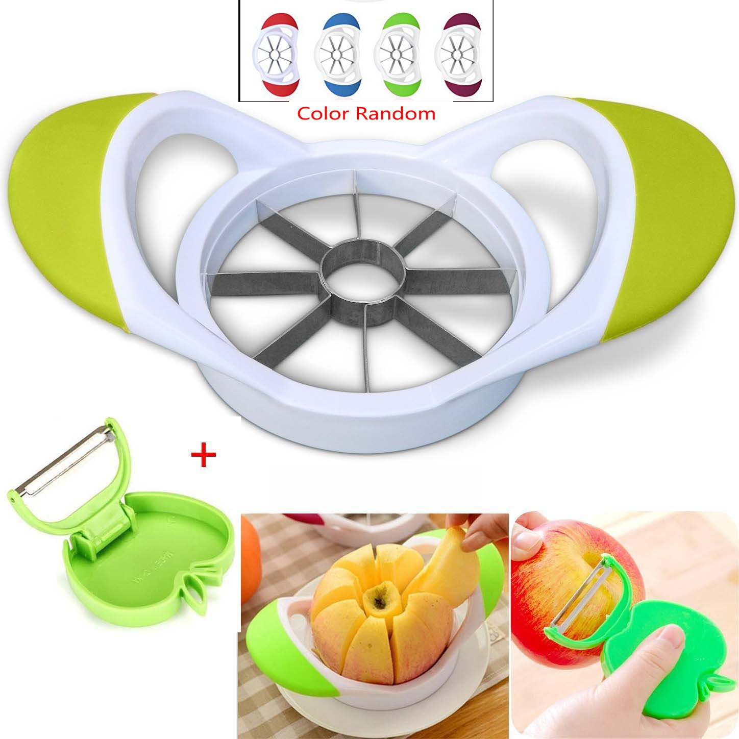 8-Blades Apple Slicer Corer - Ultra-Sharp Stainless Steel Apple Blades with Folding Peeler, White, Arriving Within 3-5 Days SUN RUN