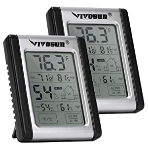 VIVOSUN Digital Indoor Thermometer & Hygrometer with Humidity Guage (2 Pack), Accurate Temperature Humidity Monitor Meter for Home, Office, Greenhouse, Indoor Garden (Button Battery Included)