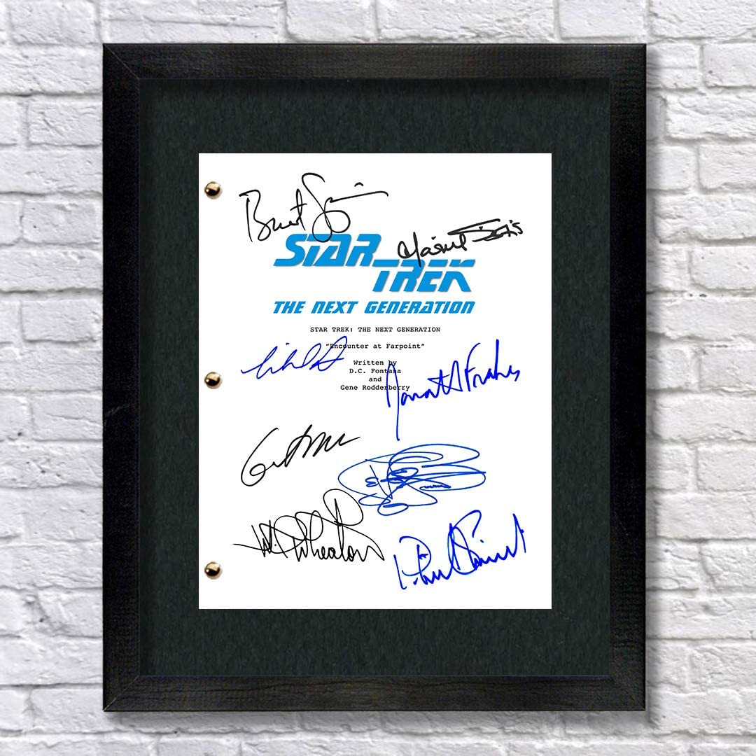 Wil Wheaton Star Trek The Next Generation TV Autographed Signed Reprint 8.5x11 Script 13x15 Framed Patrick Steward Brent Spiner Jonathan Frakes William Riker
