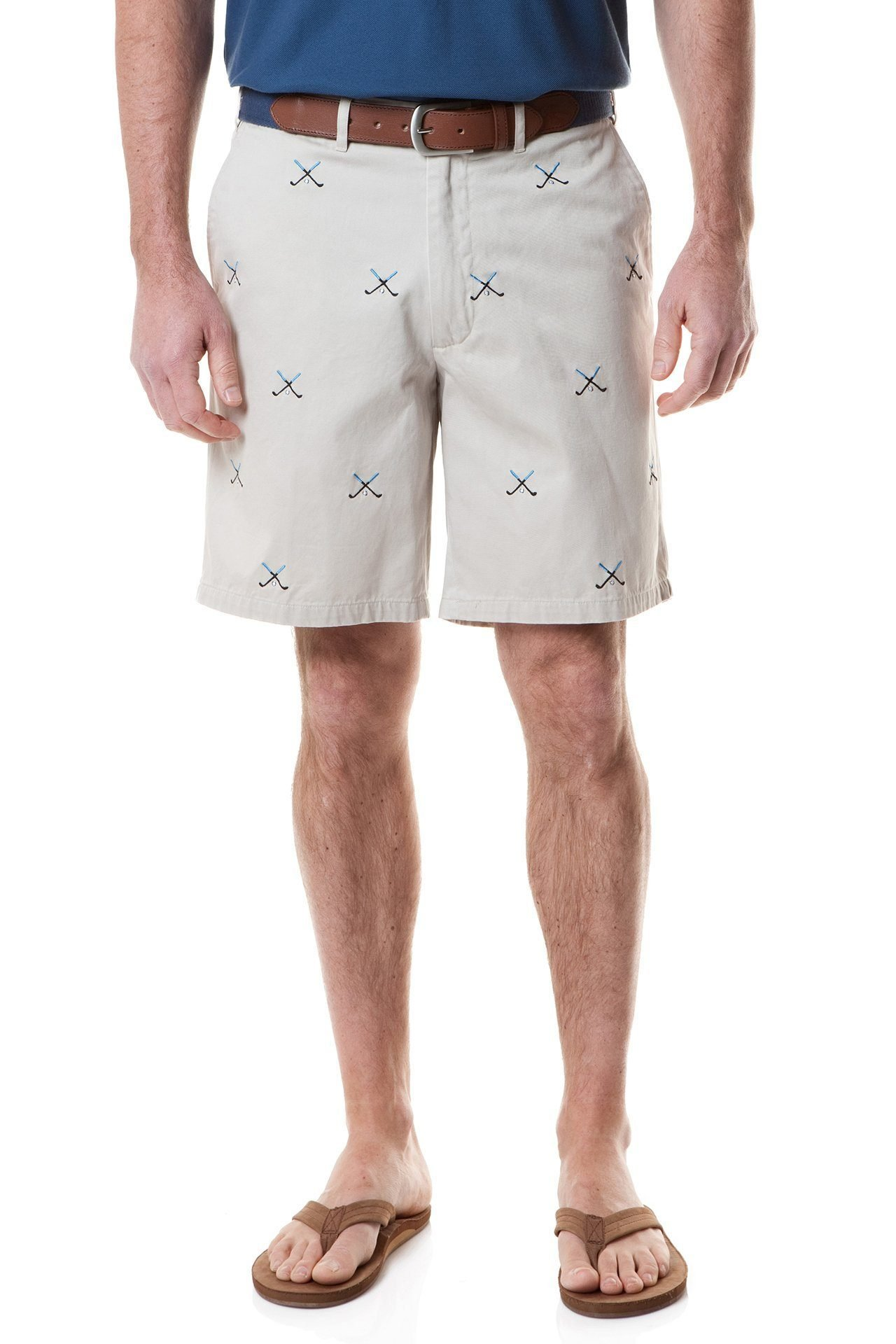 The Fine Swine Castaway Clothing Embroidered Critter Shorts (32, Khaki with Golf)
