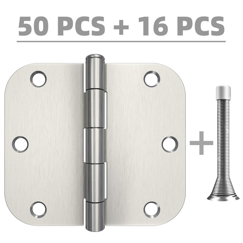 Hosom 3.5'' x 3.5'' Door Hinges Brushed Nickel - 50pcs Interior Door Hinges, 16pcs Spring Door Stops - 5/8''Rounded Corner Hinge