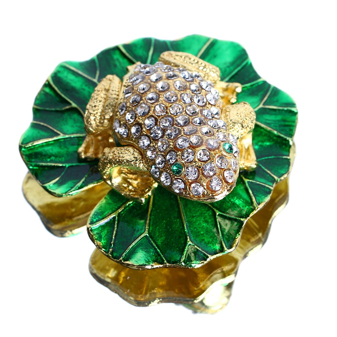 YUFENG Enamel with Crystals Animal Frog Trinket Box Hinged for Women,Bejeweled Jeweled Collectible Trinket Box (gold frog)