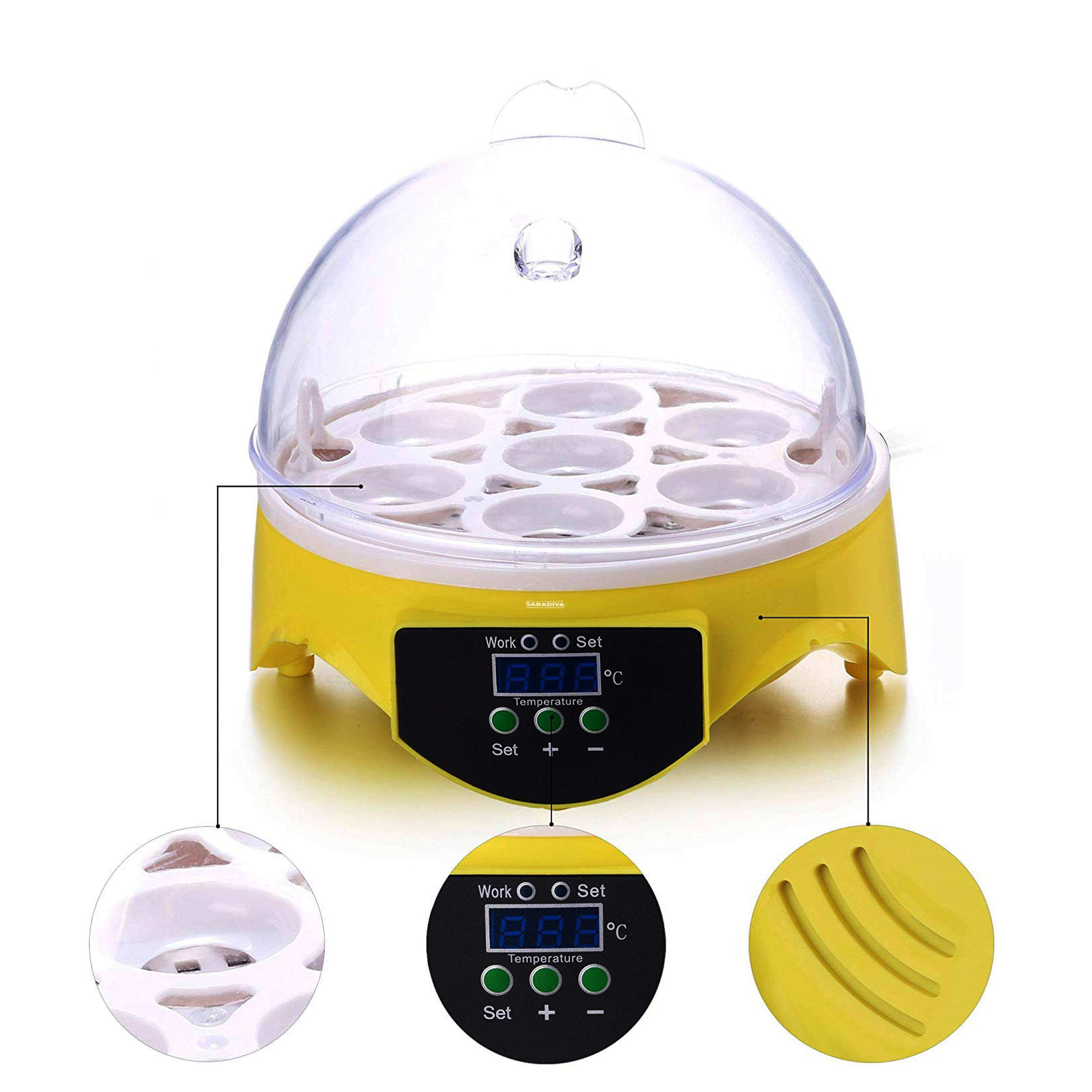 SABADIVA Egg Incubators for Hatching Eggs with Automatic Turner |7 Egg Incubator Hatcher Automatic I by SABADIVA