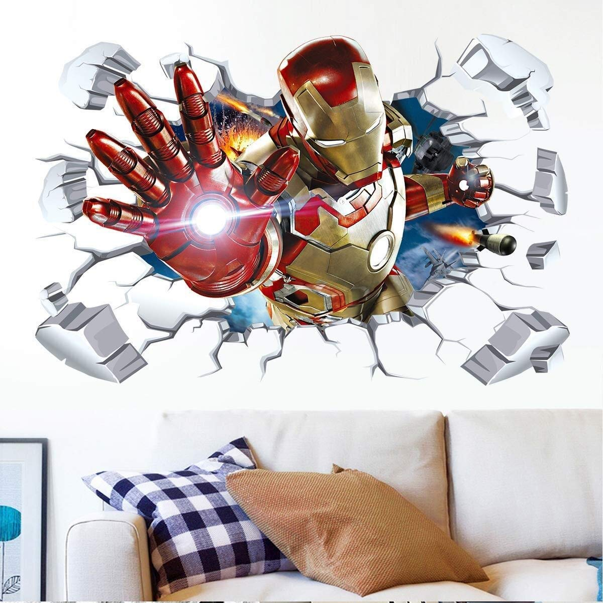 Pegatinas de pared Pegatinas de pared 3D superhéroe Iron Man Venom ...