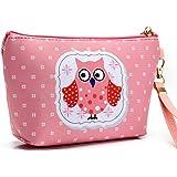 Hoyofo Owl make up borsa impermeabile cosmetici stoccaggio sacchetto viaggio lavare la borsa con manico per donne