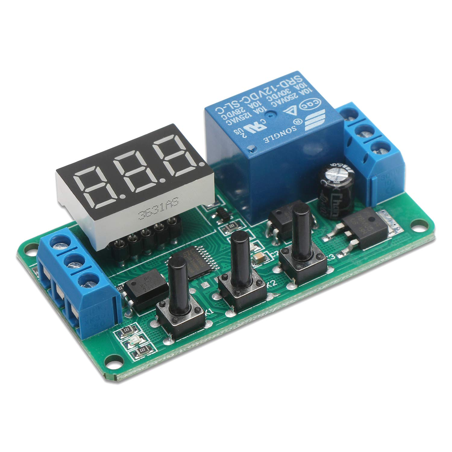 12 Volt Timer Relay, DROK 0 1s to 999min 50mA 4-Mode On-Off